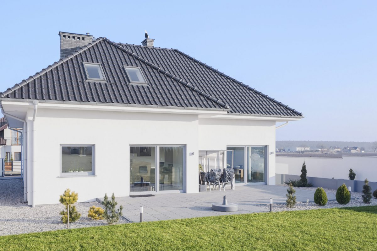 White modern bungalow designed in scandinavian style